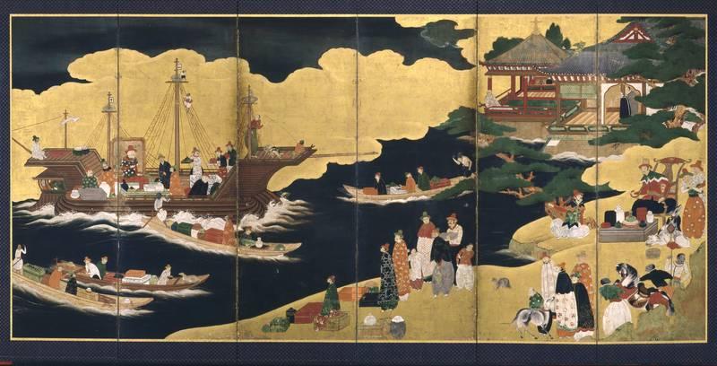 прибытие португальского корабля, японская ширма, 1620-1640 гг